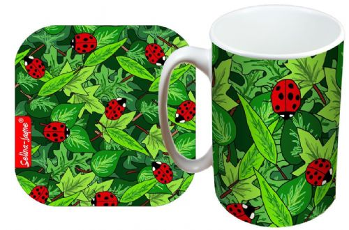 Selina-Jayne Ladybirds Limited Edition Designer Mug and Coaster Gift Set